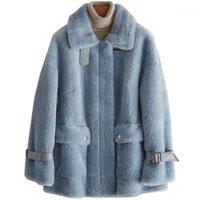 Real Fur Coat Wool Jacket Autumn Winter Coat Women Clothes 2020 Korean Sheep Shearling Tops Suede Lining Abrigo Mujer ZT36011
