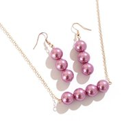 Earrings & Necklace SAY Polynesian Hawaiian Zealand Micronesia Island Style Colorful Glass Pearls Pendant Dangle Jewelry Set