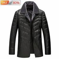 Men's Leather & Faux Genuine Coat Men Duck Down Thick Mens Real Sheepskin Jacket Winter Jackets GSJA32AB LWL1070