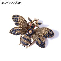 Morkopela Rhinestone Arı Broş Böcek Broşlar Kadın Erkek Vintage Metal Pin Eşarp Klip Giysi Aksesuarları