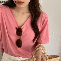 T-shirt Femme Korejpaa Femmes 2021 Corée Chic Simple Simple Solide Couleur Solide Col V-Col V Lâche Casual Tee Tee à manches courtes