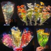 عيد الحب يوم مضيئة bouquet babysbreath ديزي عباد الشمس هدية ليوم mobth's gypsophila ملون المنزل عيد حفل زفاف الديكور g65shwy