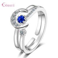 Cluster Rings Trendy Fashion 925 Sterling Silver Luxury 2 In 1 Match Moon Stars For Women Girls Propose Wedding Christams