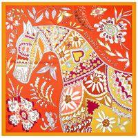 Simulation silk shawls small square designer scarf simple fashion student trend scarves retro wild 130x130cm