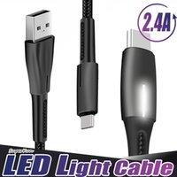 2.4A Tipo C Micro USB Cables de cargador Rápido Cable LED LED de nylon Allay de aleación de zinc de aleación rápida para Huawei LG Teléfono Android