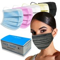 Masques de visage jetables colorés de 50pc pour femmes Blanc Bleu Noir Blue Protec 3ply couches PM2.5 Masque de bouche sans décoration Masque CT23