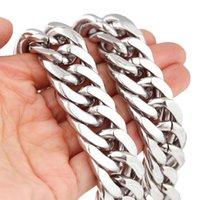 Tisnium 21mm Collier d'épaisseur et lourd pour hommes Argent Couleur Cuba Miami Cuker Solid Haper Steel Chaîne Meilleur cadeau