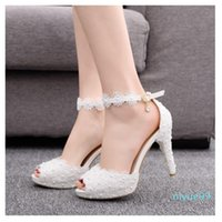 Fashion peep toe lace white wedding shoes summer pearl hollow 11cm high-heeled banquet sandals ankle strap size 35-41