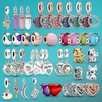 925 Sterling Silver Beads Oval Cabochon Amulet Pendant Solitaire Clip Charms fit Original Pandora Bracelets or Necklaces