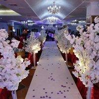 5ft Uzun Boylu Beyaz Yapay Kiraz Çiçeği Ağacı Roma Sütun Yol Düğün Alışveriş Merkezi Açıldı Açılan Sahne Dekoratif Çiçekler Çelenk