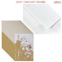 Greeting Cards 20pcs set Cut Ring Wedding Invitations Card Invite Envelopes Kit Bridal Shower Engagement Party Supplies QX2E