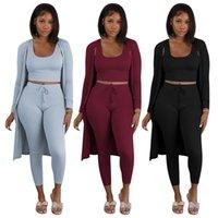 Kadınlar 3 Üç Parçalı Pantolon Eşleştirme Set Sonbahar Kış Giysileri Nervürlü Örme Tank Üst + İmparatorluğu Kalem Legging + Uzun Kollu Açık Dikiş