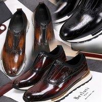 Berluti El Yapımı Deri Sneaker Ayakkabı Hızlı Parça Scritto En Kaliteli Erkek Casual Hakiki Nakış Klasik Eğitmenler Lover Sneakers ile Kutusu