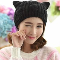 Beanies Cute Cat Knitted Hat Beanie With Ear Women Lovely Warm Winter Casual Knit Ladies Black Caps Kawaii Female Skullies