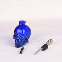 Skull Head Glass Bong Popular Glass Hookah Pipe Durable Mini Shisha Tobacco Smoking Cheap Water Pipe Unique Design 256124874
