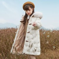 Down Coat Winter Jacket For Girls Children's Clothes Over Knee Warm Long Artifical Fur 6 9 12 Years Kids Solid Horn Buckle Parkas