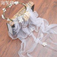 Haimeikang Handmade Flower Crown White Veil Fabric Bridal Headpiece Pearl Wedding Hair Accessories Hairwear1