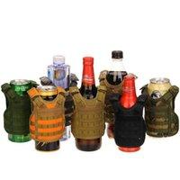 7 컬러 미니 전술 조끼 야외 몰리 조끼 와인 병 커버 음료 쿨러 조정 가능한 Drinkware 핸들 RRB11109