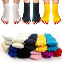 yutong 2Pcs Eastic Foot Alignment Pain Relief Socks For Pedicure Device Hallux Valgus Correction Five Toe Fingers Separators