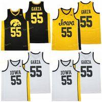 NCAA IOWA Hawkeyes baloncesto 55 Luka Garza College Jersey Men Cotton University Team Azul marino Azul Amarillo Amarillo Alta calidad