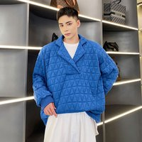 Autumn Winter Men Embroidered Plaid Cotton Padded Thicken Pullover Sweatshirt Jacket Korean Trend Loose Casual Coat