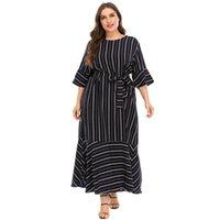 Casual Dresses Summer Women Autumn Three Quarter Sleeve Striped Print Dress Black Ruffles Maxi Long