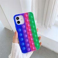 10 ألوان سيليكون ملون مكافحة قطرة الحالات الهاتف الخليوي غطاء لفون 12 11 برو ماكس x xs XR 7 8 6S زائد سامسونج غالاكسي S20 S21