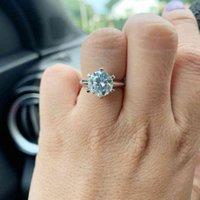 Aew 10ct 3ct 5ct EF rond 18K blanc plaqué or 925 argent moissanite bague diamant test croisé bijoux femme fille cadeau