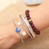 Bracciali di fascino Braccialetti bohémien trifoglio colorato perline in acciaio inox Bangles per le donne Regali