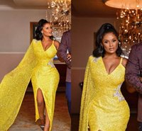 Aso Ebi 2021 Arabic Yellow Sparkly Sexy Evening Dresses Spaghetti Beaded Prom Wears High Split Formal Party Second Reception Gowns