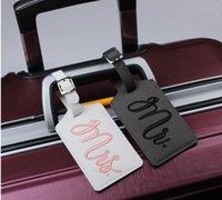DHL200PCS Tag per matrimoni Tag Accessori da viaggio Stile personale MRMRS Embroidery Printing PU Valigia ID Addres Holder