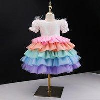 Платья девушки платья девочка платье сладкая принцесса радуга туту стадии подиума костюмы малышей цветок