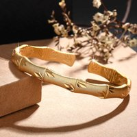 Bamboo Bangles With 925 Silver Plated Or Gold Matte Plated Bracelets Open Size Jewelry For Women