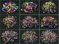 اللسان الحاجب الشفاه الأنف حلقات البطن 900 قطع مزيج الألوان الجسم ثقب المجوهرات الفولاذ المقاوم للصدأ الحاجز الاكريليك الكرة / مخروط