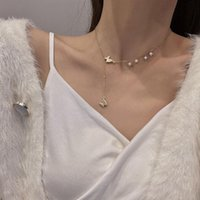 Trendy Design Sense Titanium Steel Necklace Female Retro Micro-inlaid Butterfly Pendant Net Red Pearl Clavicle Chain Necklaces