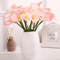 10 unids de plástico de plástico hogar liviano bricolaje bridal floral flor artificial flor falsa calla lirio decoración elegante decorativo f