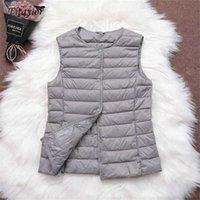 Fitaylor 90% Ultra Açık Beyaz Ördek Aşağı Kadın Yelek İnce Ceket Kolsuz Ceket V Yaka veya O 211023
