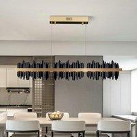 Chandeliers Modern Rectangle Living Room Chandelier With Remote Control Design LED Hanglamp Kitchen Island Gold Black Light Fixtures