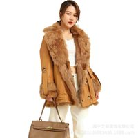 Women's Fur & Faux 2021 Fashion Model And One-piece Liner Pie Overcoming Both Sides To Wear Warm Slim-fitting Motorcycle Jacket Women