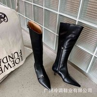Women's long boots autumn and winter pointed thin heel thin belt buckle knee high boots