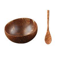 그릇 12-15cm 자연 코코넛 그릇 주방 보호 나무 나무 식기 숟가락 세트 코코 스무디