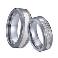 최고 품질의 사랑 제휴 텅스텐 카바이드 쥬얼리 CZ 결혼 반지가 커플을위한 세트 남성과 여성 선물 실버 컬러 녹 녹