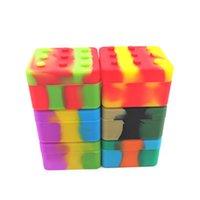 4 + 1 contenitore di silicone contenitore di contenitori quadrati della scatola quadrata non-stick 26ml scatola di blocco per DAB olio di cera dell'erba asciutta del silicone del silicone vaso CCF6119