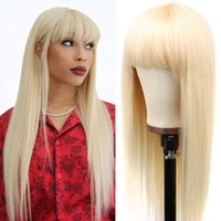 #613 Light Blonde Long Silky Straight Synthetic Hair Wigs No Lace Full Neat Bangs Fashion Women's Heat Resistant Replacement Wig Machine Made