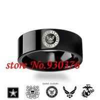 결혼 반지 8mm 군사 기호 로고 텅스텐 링 - 육군 반지