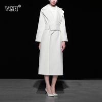 vgh 우아한 기질 여자 옷깃 긴 소매 새시를위한 트위드 자켓 화이트 한국의 방출하는 여성 패션 새로운 겨울 조수 210421