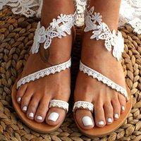 Chic White Lace Wedding Bridal Shoes Women's Sandals 2021 Female Slip-on Flat Sexy Boho Sandal Sandalias Mujer Sapato Feminino Large Size AL9043