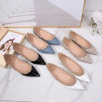 Summer designer woman dress shoes 100% leather fashion brand Pointed Rivets luxury lady Flat Casual size 34-44 with box