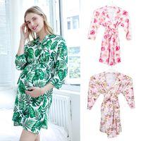 Maternità Sleep Lounge Abbigliamento Incinta Donne da notte Nightgown Stampato con stampa a floreale Pajamas Abbigliamento
