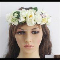 Hair Accessories Flower Crown White Girls Headpiece Floral Headband Wreath Womens Wedding Bridal Silk Mdasr Ak0Iy